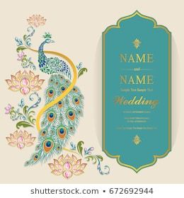 Wedding Invitation Card Templates With Gold Peacock With Lotus Pattern Wedding Invitation Card Template Wedding Invitation Cards Hindu Wedding Invitation Cards