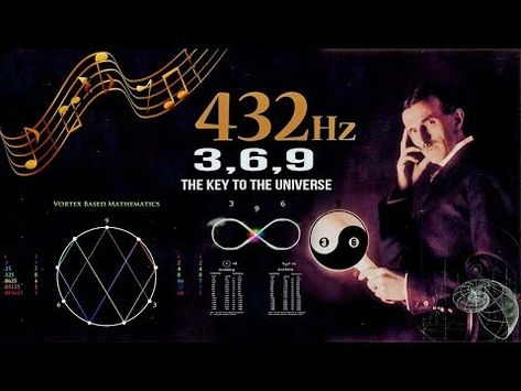 """432 Hz and Tesla's 369 Decoded """"If you only knew the magnificence of the 6 and then you would have a key to the universe."""" – Nikola Tesla 432 Hz – Unlocking The Magnificence Of The 6 and The Key To The Universe! by Michael Lee Hill[. Tesla 3 6 9, Tesla Nikolai, Nikola Tesla Quotes, Nicola Tesla, Tesla Inventions, Alternative Energie, Pseudo Science, Sacred Geometry Symbols, Spirit Science"""