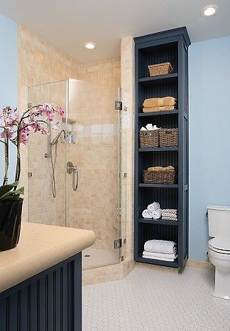 Bathroom with shelves for towels - feels like a spa! If we can\'t add ...