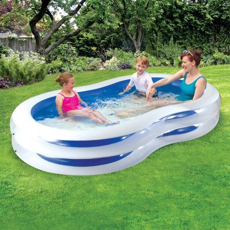 Play Day 8 Plastic Inflatable Family Swimming Pool Blue And White Walmart Com Family Swimming Swimming Pools Family Pool