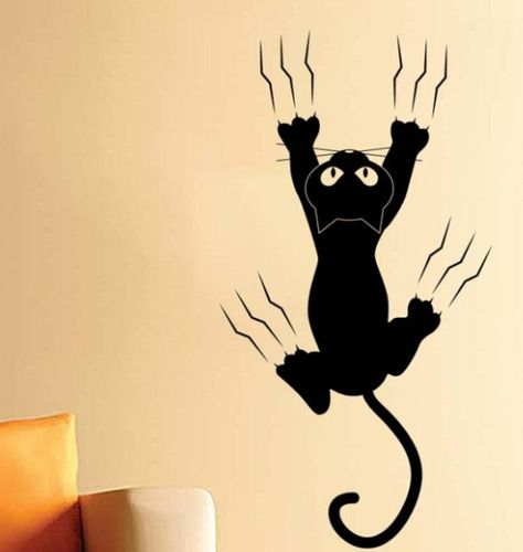 Adesivi Murali Con Gatti.Adesivi Murali Con Gatto Che Scivola Muro Adesivi Murali