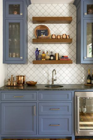 Wet Bar With Blue Cabinets And Wooden Floating Shelves Shm