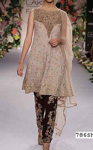 710fbcc88b Ivory Crinkle Chiffon Suit   Buy Pakistani Designer Fashion Dress ...