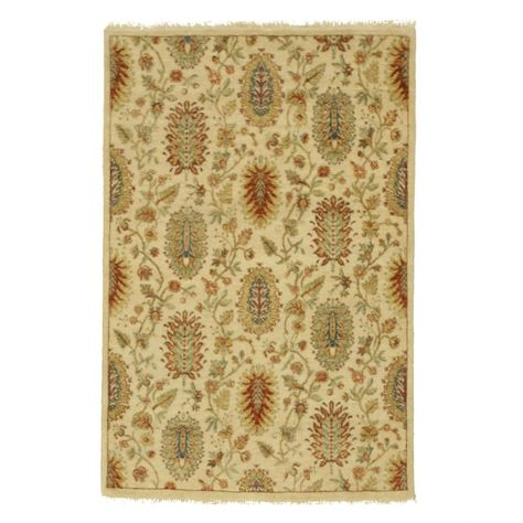 Hand Knotted Wool Ivory Traditional Oriental Agra Rug 3 7 X 5 5 4 X 6 Rugs Wool Rug Colorful Rugs