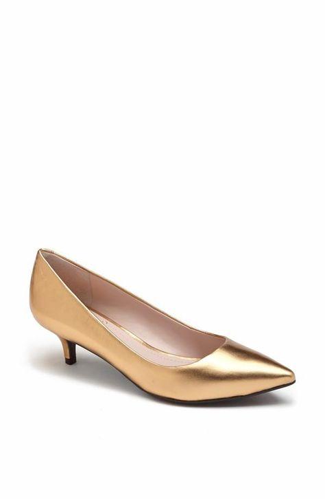 Gold Pump Yes Please Kitten Heel Pumps Gold Kitten Heels Gold Shoes