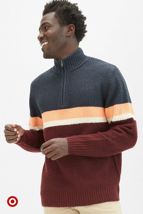 Mens' cozy sweaters for every winter outfit  every holiday family photo.