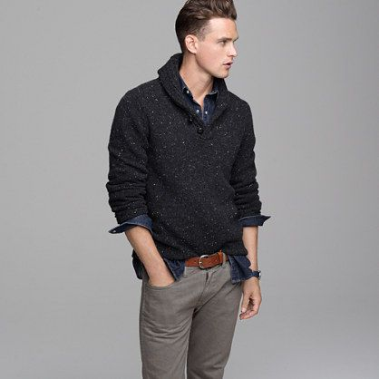//\\ Donegal wool shawl-collar sweater