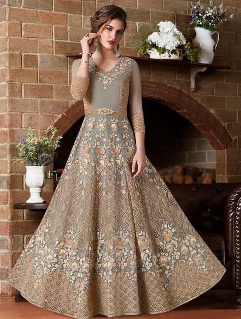 b02df0db8dce2 Embroidered semi-stitched anarkali suit - 15823576 - Zoom Image - 1. More  Details