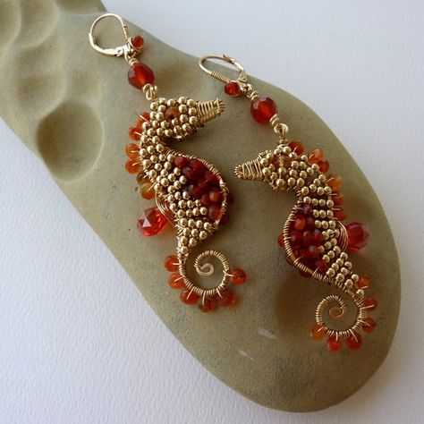 Golden Fire Opal Seahorse Earrings by pippijewelry on Etsy