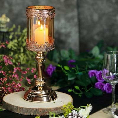 Set Of 3 Lace Design Gold Amber Hurricane Glass Candle Holder Set With Glass Tube 13 15 17 Glass Hurricane Candle Holder Glass Candle Holders Candle Holders