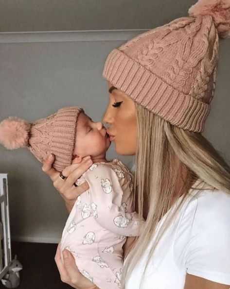 baby pictures Matching knitted beanie with pom pom for mum and bub to keep warm in Winter. Click through to check out baby accessories from Lunas Treasures. Knitted beanies come in sizes for women and newborns.