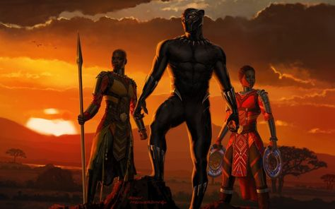 Desktop Wallpaper Black Panther, 2018 Movie, Sunset, Artwork, Hd Image, Picture, Background, 0ebbf9