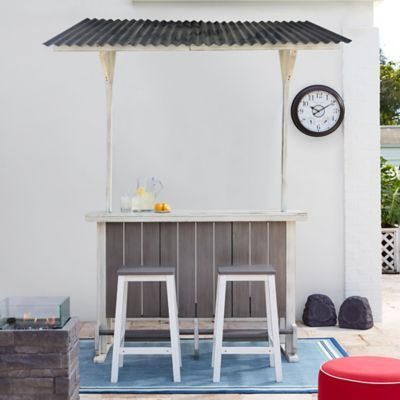 wood outdoor entertaining bar bed