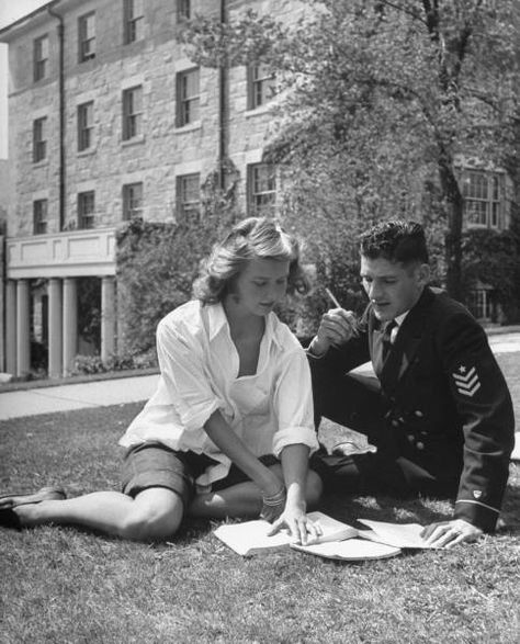 A married college girl studying chemistry with her military husband on the campus of Connecticut College. Photograph by Nina Leen. New London, Connecticut,