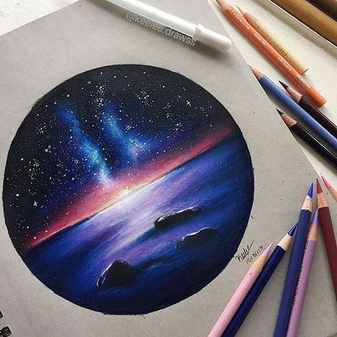 Galaxy Sunset Drawing Galaxy Drawings Color Pencil Drawing