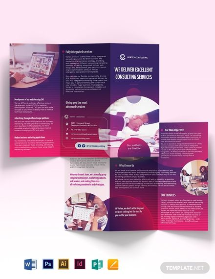 Consulting Services Tri Fold Brochure Template Word Doc Psd Indesign Apple Mac Pages Publisher Illustrator Trifold Brochure Brochure Design Template Brochure Template