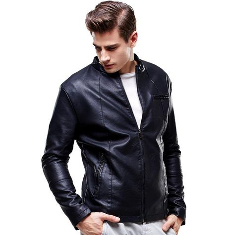 DashX Mens Stand Collar Leather Jacket Zip-up Closure Black