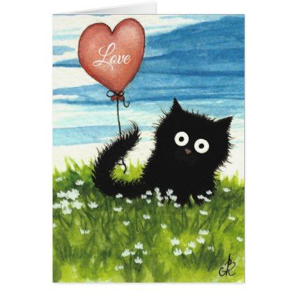 Black Cat Valentine Love by Bihrle Card - black gifts unique cool diy customize personalize