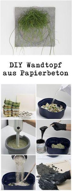 DIY Papierbeton Wandtopf und Schalen DIY paper concrete wall pot and bowls