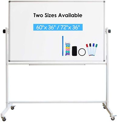 Magnetic Mobile White Board With Stand Rolling Double Sided Dry Erase Board On Ebay In 2020 Dry Erase Board Dry Erase Magnetic White Board