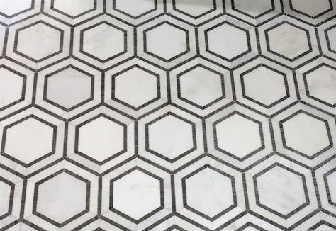 Hex Appeal Hexagon Mosaic Tile, Oriental White/Basalt, Sample - contemporary - Floor Tiles - Mission Stone Tile for a small bathroom floor - gorgeous