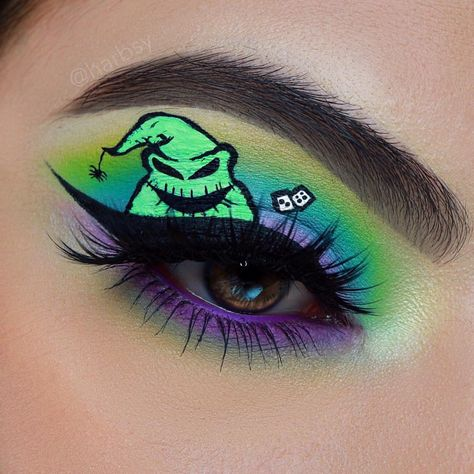 IT& THE OOGIE BOOGIE MAN! 👻🕷️ Don& get a fright tonight, and get those brows down with our Precision Pen and Strong Hold Gel! Makeup Eye Looks, Eye Makeup Art, Goth Makeup, Colorful Eye Makeup, Eyeshadow Makeup, Makeup Inspo, Disney Eye Makeup, Disney Inspired Makeup, Makeup Ideas