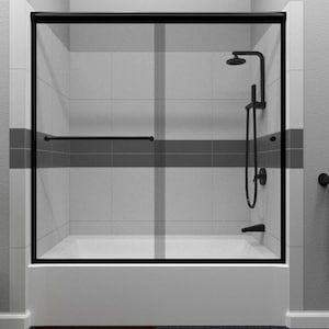 Arizona Shower Door Lite Euro Recessed 57 375 In H X 56 In To 60 In W Semi Frameless Bypass Sliding Matte Black Bathtub Door Clear Glass Lowes Com In 2020 Shower Doors Bathtub Doors Black Shower Doors