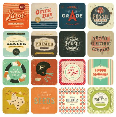 love the vintage colours, type and designs!