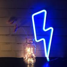 Blue Neon Lightning Bolt
