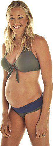 Prego Maternity Womens Roll Waist Olive Bikini