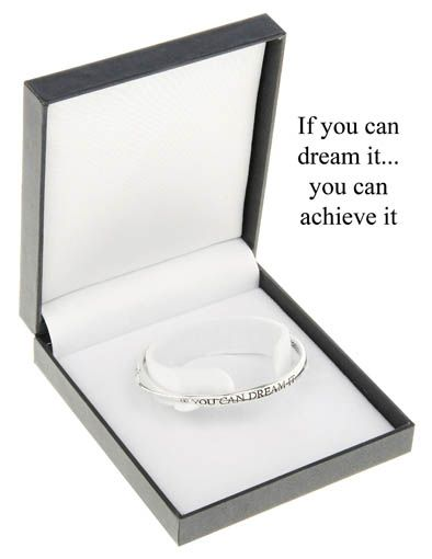 Equilibrium Silver Plated Bangle - If You Can Dream It You Can Achieve It 4SqQMiVW