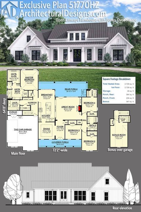 Plan 51770hz Open Concept Farmhouse With Bonus Over Garage Exclusive House Plan House Plans Farmhouse Plans