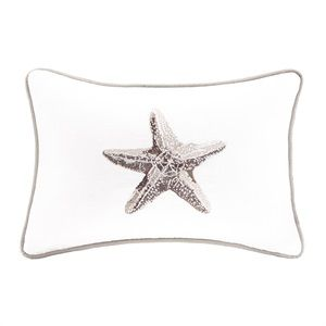 Starfish Embroidered Oblong Pillow