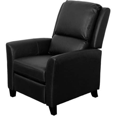 Recliners For Small Spaces Bedroom Chairs For Adults Black Bonded Leather Wood Legs Pushback Offer Extra Comfort I Recliner Chair Leather Recliner Recliner