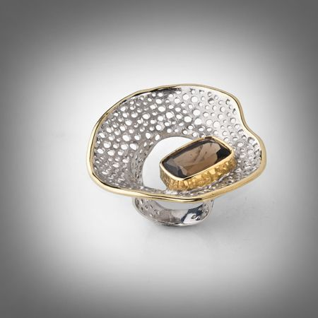 Ring | Gabriel Kabirski.  Sterling silver, Morion, Rhodium and Gold.