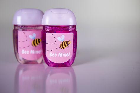 Bee Mine Hand Sanitizer Labels Hand Sanitizer Valentines
