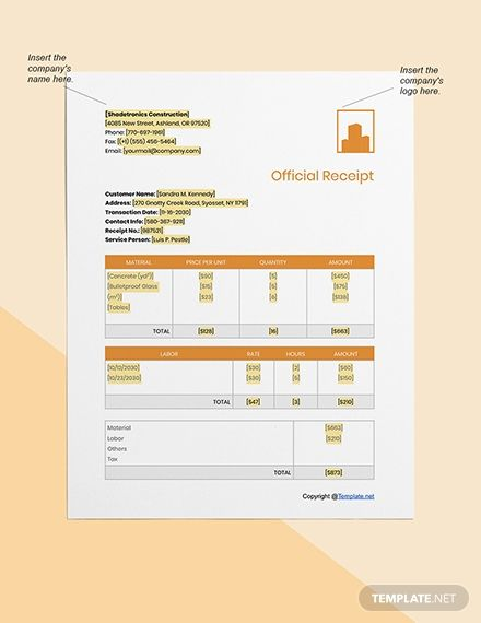 Free Basic Construction Receipt Template Word Pages Google Docs Receipt Template Templates Receipt