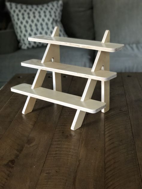 The Plain 3 Tiered Stand Wood Tiered Shelf Cupcake Stand Etsy In 2020 Diy Display Shelf Display Stand Vendor Display Shelves