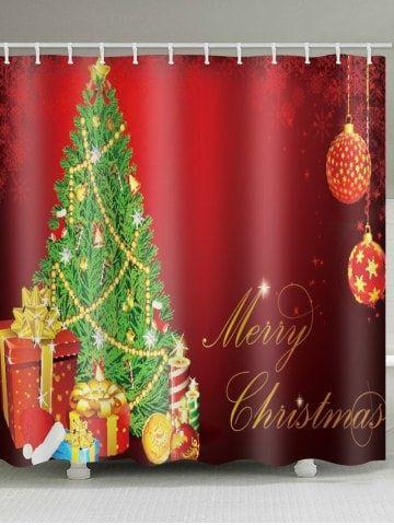 Christmas Tree Gift Print Waterproof Bathroom Shower Curtain
