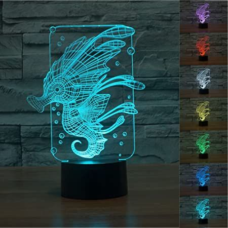 Amazon Com Superniudb 3d Novelty Sea Horse Night Light 7 Color Change Led Table Lamp Xmas Toy Gift Baby In 2020 Color Changing Led Night Light Xmas Toys