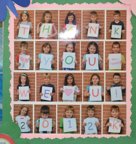 A great gift that any teacher would love.  Our teacher loved this simple picture; each kid presented a letter for a message to our teacher. Then I took the JPEG and created 2x2 pictures and printed on an 81/2 x 11 sheet of picture paper.  Then framed the picture with paper decorations.  So simple and easy.