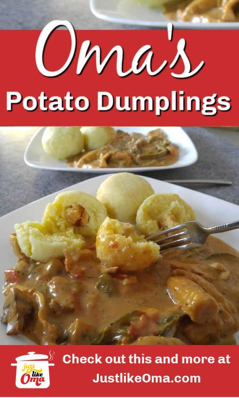 ❤️German Potato Dumplings made just like Oma! Try making this scrumptious recipe! A truly yummy treat! ❤️German Potato Dumplings made just like Oma! Try making this scrumptious recipe! A truly yummy treat! Easy German Recipes, Austrian Recipes, Best Italian Recipes, Croatian Recipes, Greek Recipes, Bavarian Recipes, Hungarian Recipes, German Dumplings, Bread Dumplings