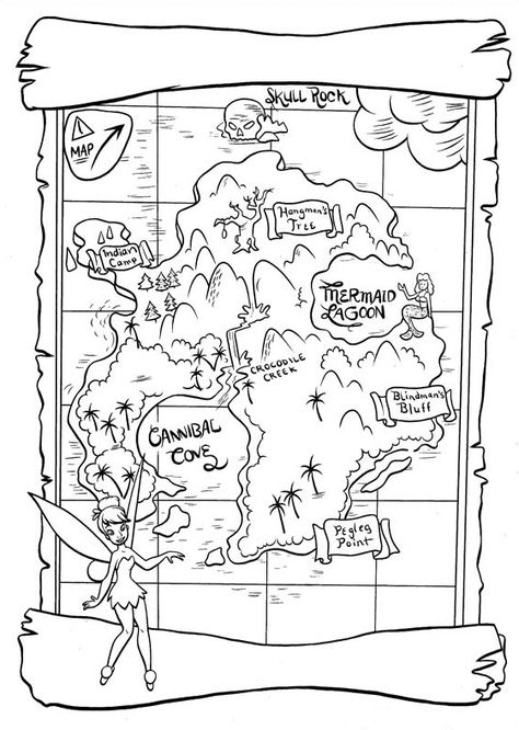 Neverland Map Printable Neverland Map Peter Pan Coloring Pages
