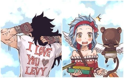 You know that she is without words when she drops her books. Gajeel, Levy, Pantherlily Fairy Tail. GaLe