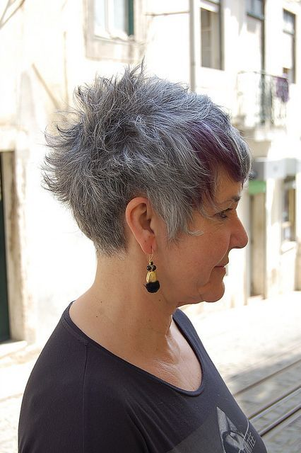 Image result for short gray hair with purple highlights