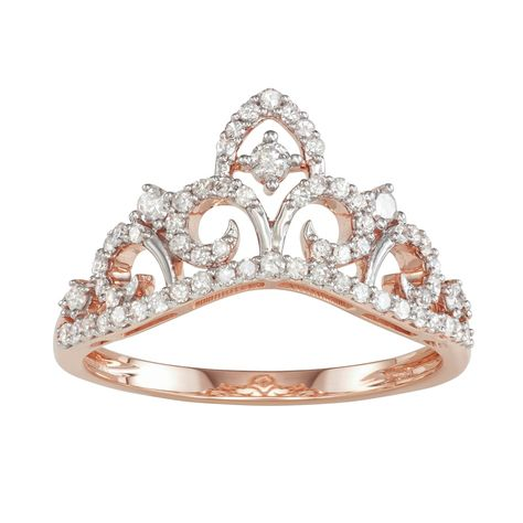 10k Rose Gold 3 8 Carat T W Diamond Tiara Ring Women S Size 7 White Rose Gold Promise Ring White Gold Rings Diamond Wedding Bands