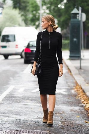 This tight fitting black dress paired with trendy camel ankle boots is both sophisticated and casual; perfect for work or play. Via Lene Orvik. Shoes: Roots, Bag: Chanel, Jacket: H&M
