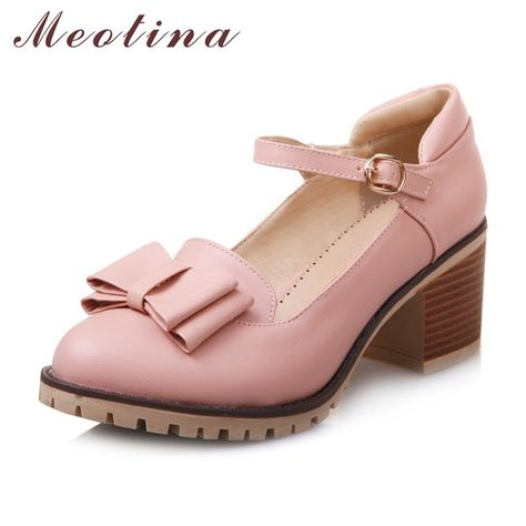 4bf83ef3bc8d6 Meotina Women Pumps Lolita Shoes Platform High Heels Pink Mary Jane Shoes  Bow Block Heel Ladies Party Shoes Large Size 33-43 Price  43.96   FREE  Shipping ...