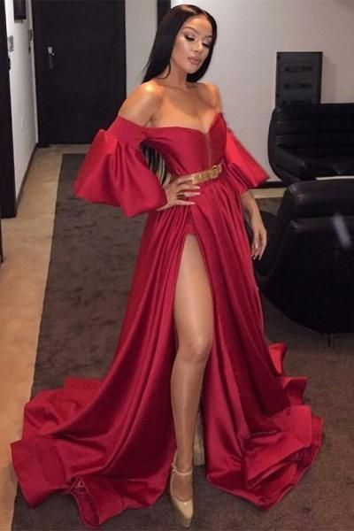 67c54a591b ... Off the Shoulder Red Split Front Long Prom Dress with Belt  Sleeves promdress graduationdress eveningdress dress dresses gowns  partydress longpromdress😄