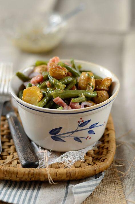 Salade de pommes de terre nouvelles et haricots verts {et lardons pour ceux qui le veulent...}